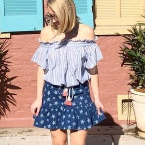 Denim Star Pattern Flounce Skirt